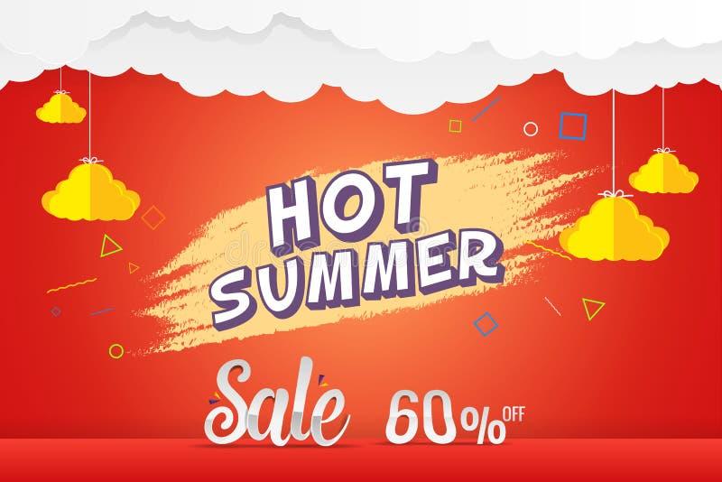 Plantilla caliente del vector del descuento de la venta del verano el 60% stock de ilustración
