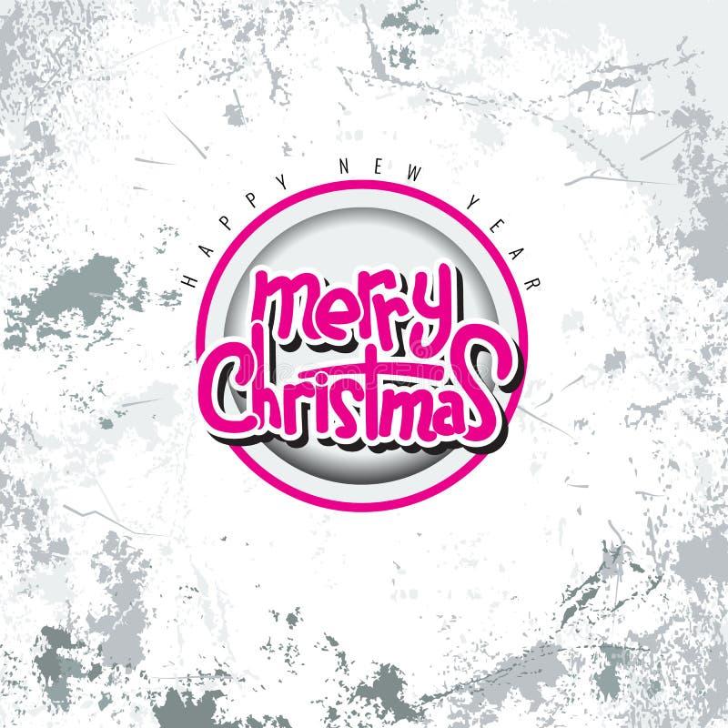 Plantilla caligráfica de la tarjeta del diseño de letras del texto del vector de la Feliz Navidad con el fondo del estilo del gru ilustración del vector