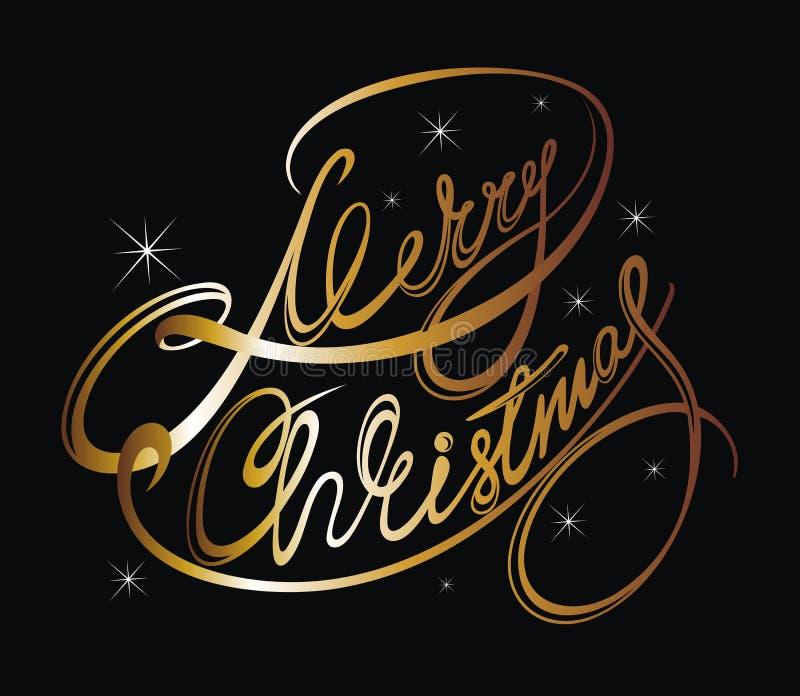 Plantilla caligráfica de la tarjeta del diseño que pone letras de la Feliz Navidad ilustración del vector