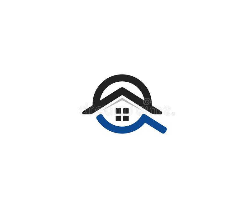 Plantilla casera del logotipo de la búsqueda Diseño del vector del tejado y de la lupa de la casa libre illustration