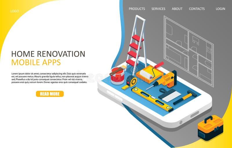 Plantilla casera del vector del sitio web de la página del aterrizaje de la renovación ilustración del vector