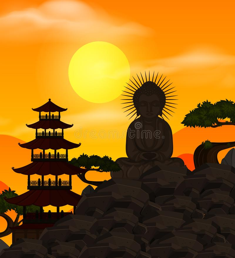 Plantilla china con la figura de Buda en la puesta del sol libre illustration