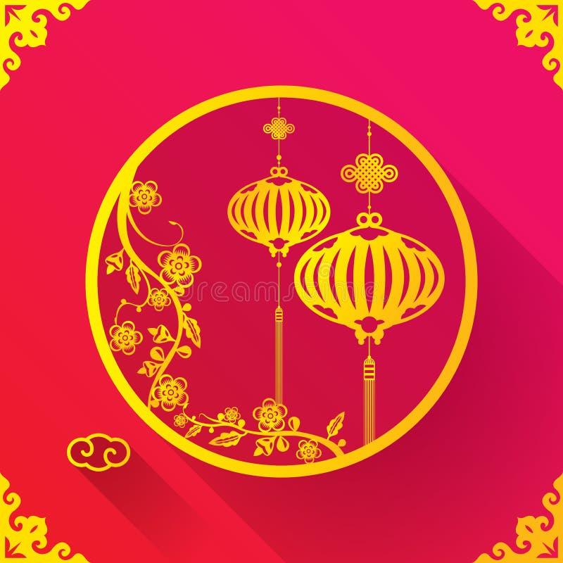 Plantilla china del diseño de la linterna ilustración del vector