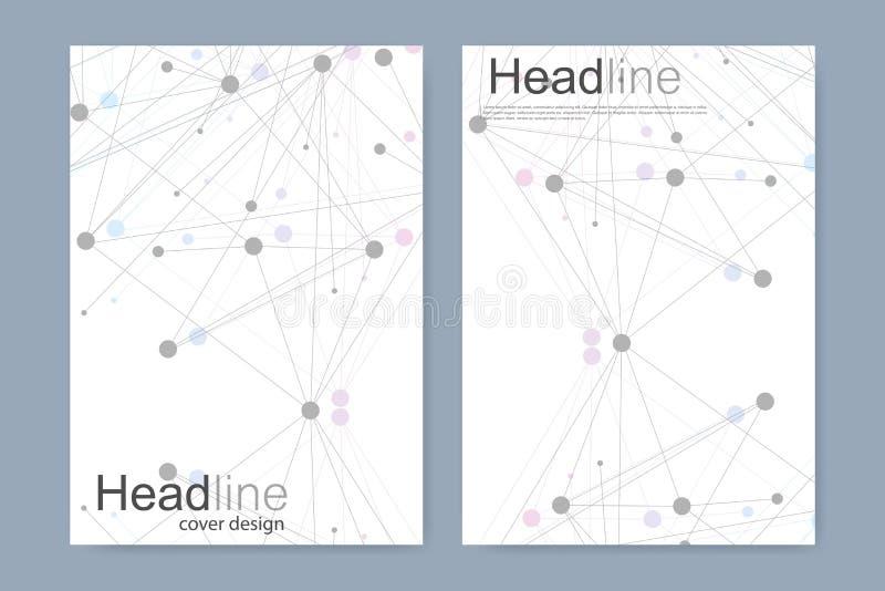Plantilla científica del diseño del folleto Vector la disposición del aviador, la estructura molecular con las líneas conectadas  libre illustration