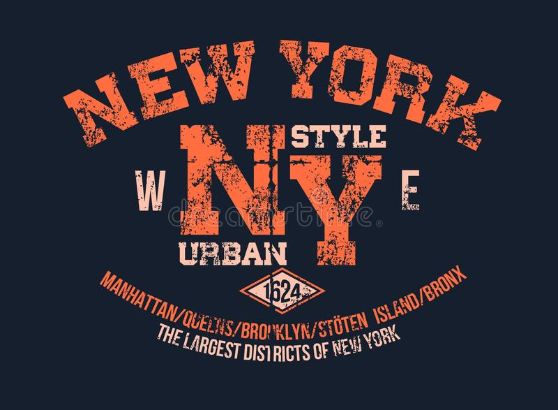 Plantilla clásica del vintage del tema de Nueva York de la impresión de la tipografía de la camiseta de la serigrafía del diseño  ilustración del vector