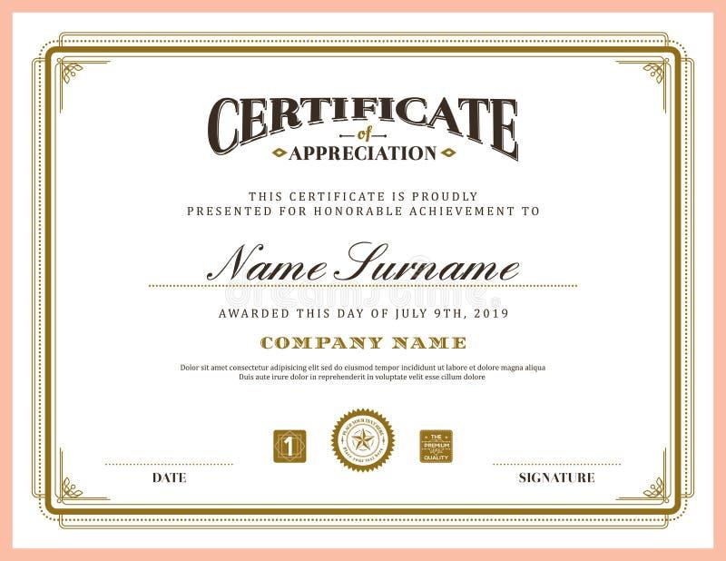 Plantilla clásica retra del fondo del certificado del marco del vintage ilustración del vector