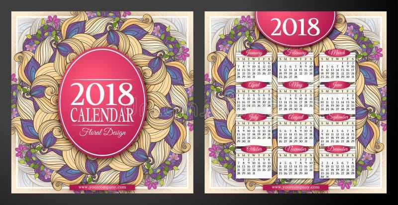 Plantilla coloreada del cuadrado del calendario de 2018 años, de doble cara stock de ilustración