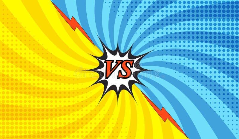 Plantilla colorida de la lucha cómica ilustración del vector