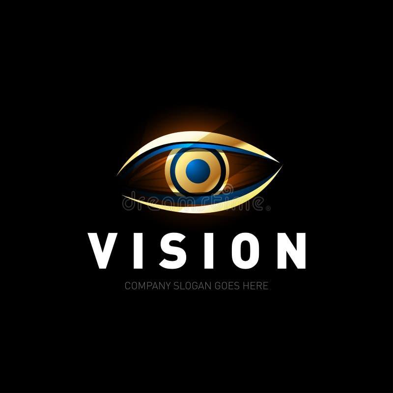 Plantilla colorida del diseño del logotipo del ojo Medios icono colorido Concepto creativo del logotipo de Vision Ilustración ilustración del vector