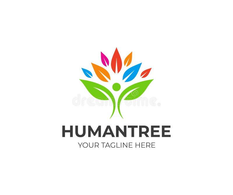 Plantilla colorida del logotipo del árbol de la gente Ser humano del diseño del vector de las hojas ilustración del vector