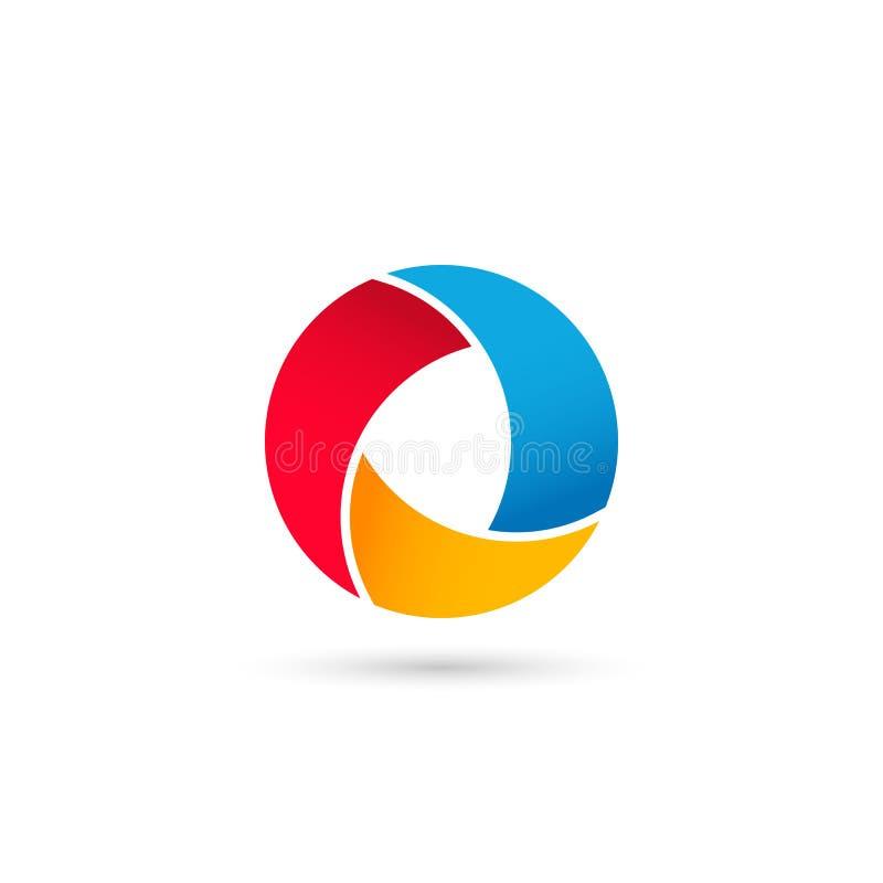 plantilla colorida del logotipo del círculo diseño colorido del logotipo de la letra O stock de ilustración