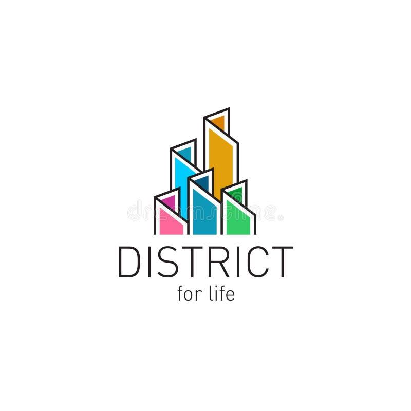 Plantilla colorida del logotipo del contorno de los edificios de las propiedades inmobiliarias stock de ilustración