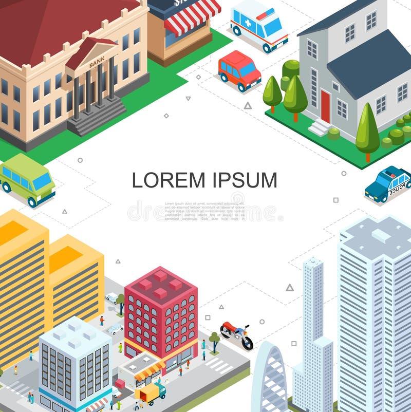 Plantilla colorida del paisaje urbano isométrico ilustración del vector