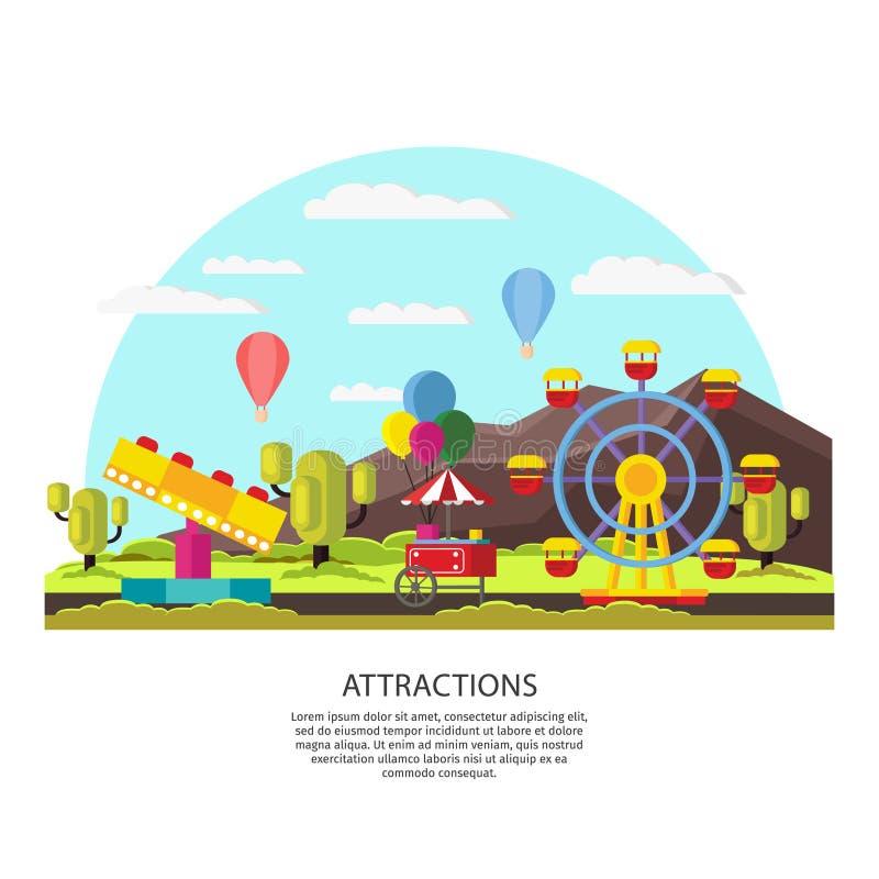 Plantilla colorida del parque de atracciones libre illustration