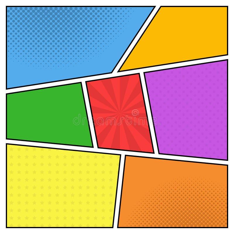 Plantilla colorida del vector de la página del cómic con los rayos, estrellas stock de ilustración