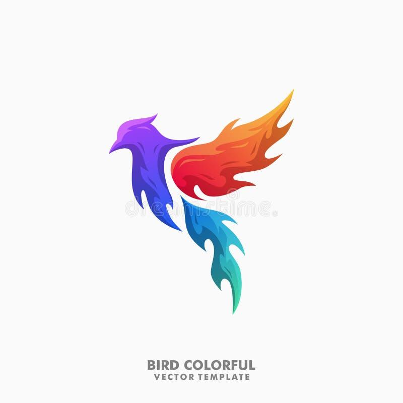 Plantilla colorida del vector del ejemplo del concepto del pájaro stock de ilustración