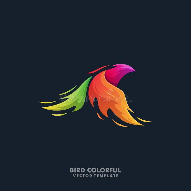 Plantilla colorida del vector del ejemplo del pájaro de Phoenix stock de ilustración