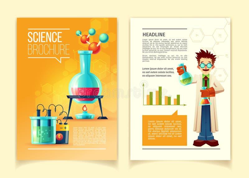 Plantilla colorida del vector del folleto de la ciencia stock de ilustración