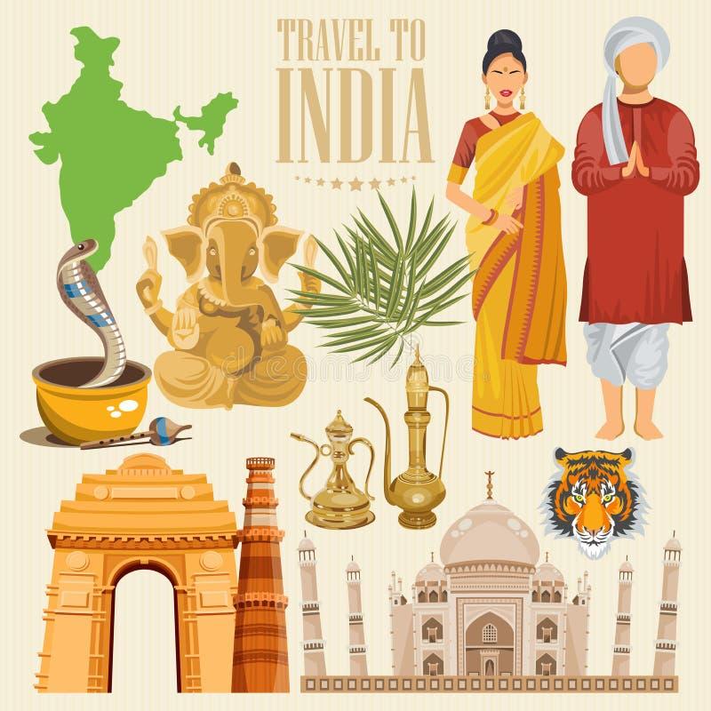 Plantilla colorida del viaje indio Sistema detallado indio Recepción a la India Amo la India Ejemplo del vector en estilo del vin ilustración del vector