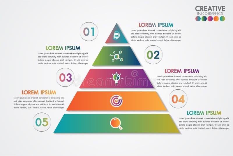 Plantilla colorida infographic de la pirámide con 5 pasos o conceptos de las opciones Cada parte contiene número, el icono y el e stock de ilustración