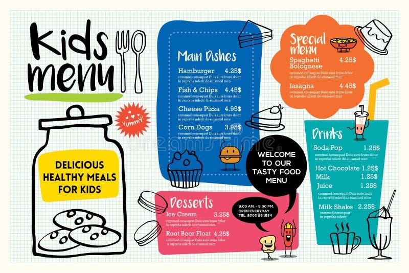 Plantilla colorida linda del menú de la comida de los niños stock de ilustración