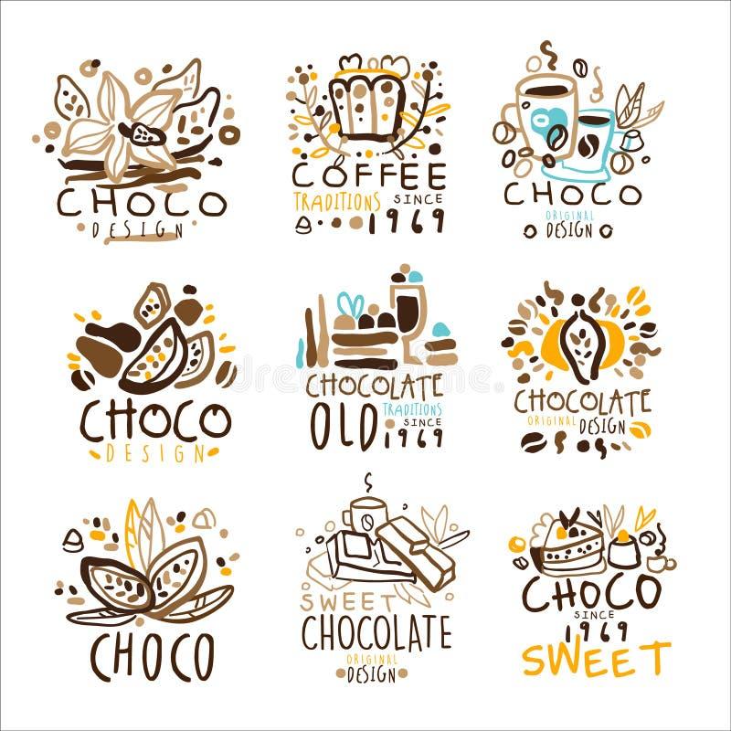 Plantilla colorida Logo Series, del diseño gráfico de las tradiciones del chocolate plantillas dibujadas mano del vector stock de ilustración