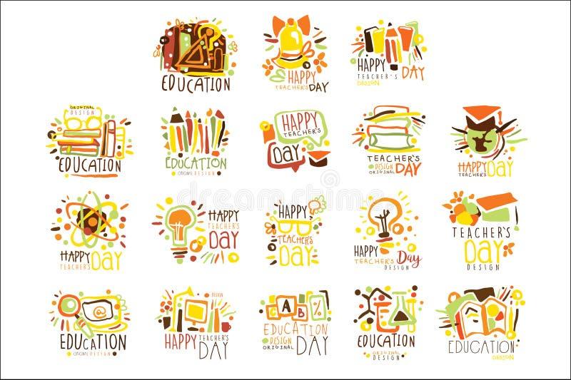Plantilla colorida Logo Set, del dise?o gr?fico del d?a feliz de los profesores plantillas dibujadas mano del vector libre illustration