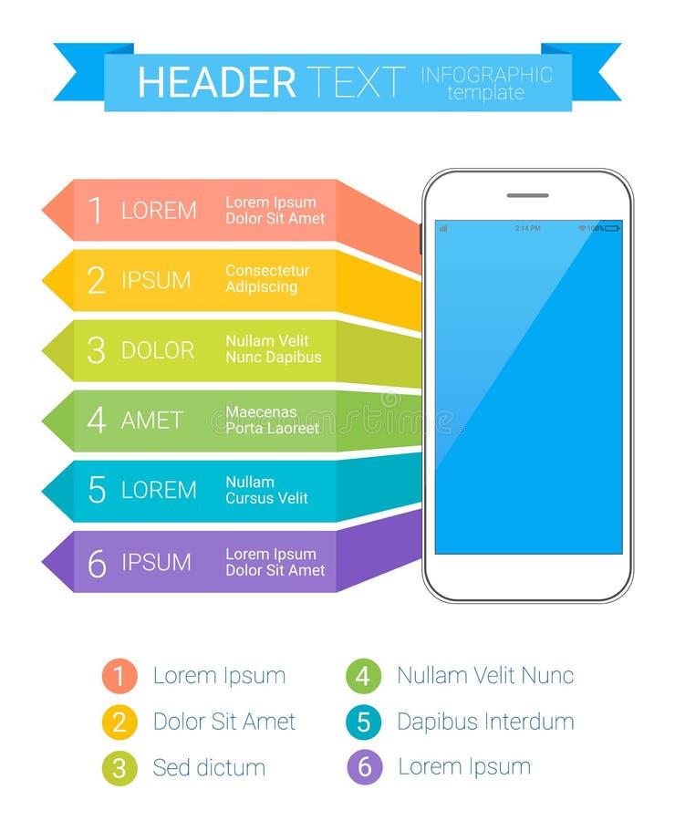 Plantilla colorida moderna de Infographic con smartphone y el texto Puede ser utilizado como plantilla creativa del negocio stock de ilustración