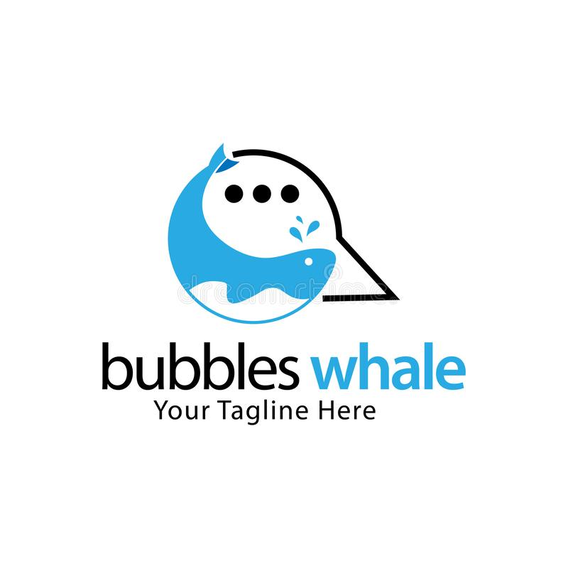 Plantilla común del logotipo de las burbujas de la ballena, diseño plano libre illustration
