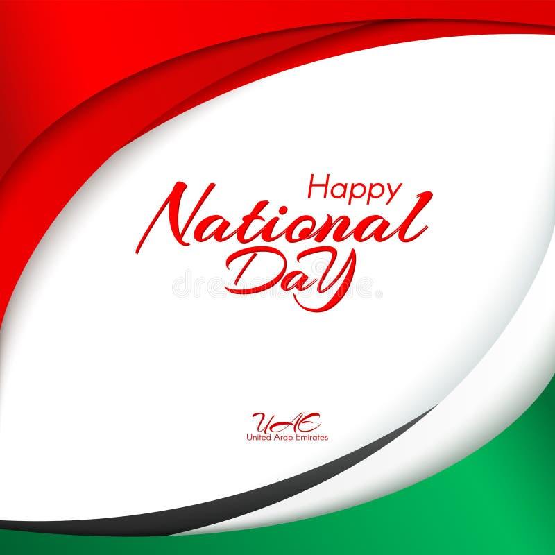 Plantilla con colores de la bandera nacional de United Arab Emirates UAE con el texto del día nacional y del Día de la Independen libre illustration