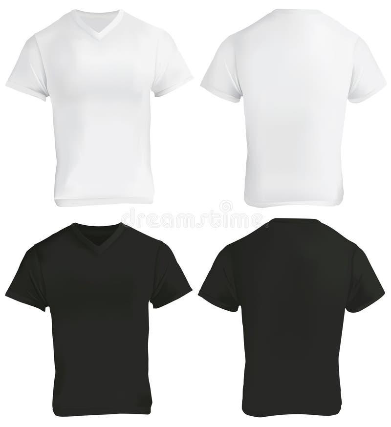 Plantilla con cuello de pico blanco y negro del diseño de la camisa libre illustration