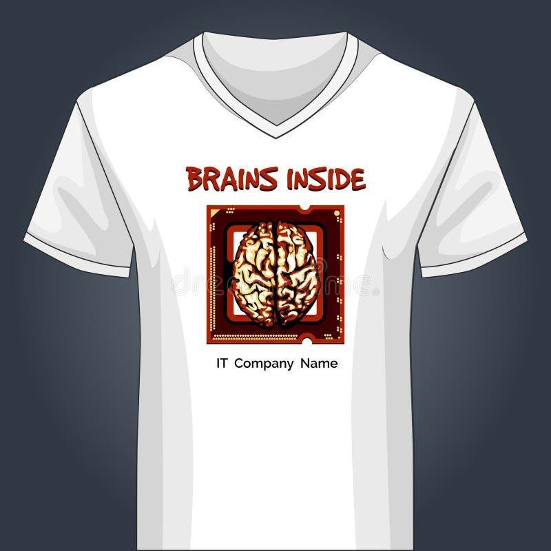 Plantilla Con Cuello De Pico De La Camisa Con El Cerebro Humano ...