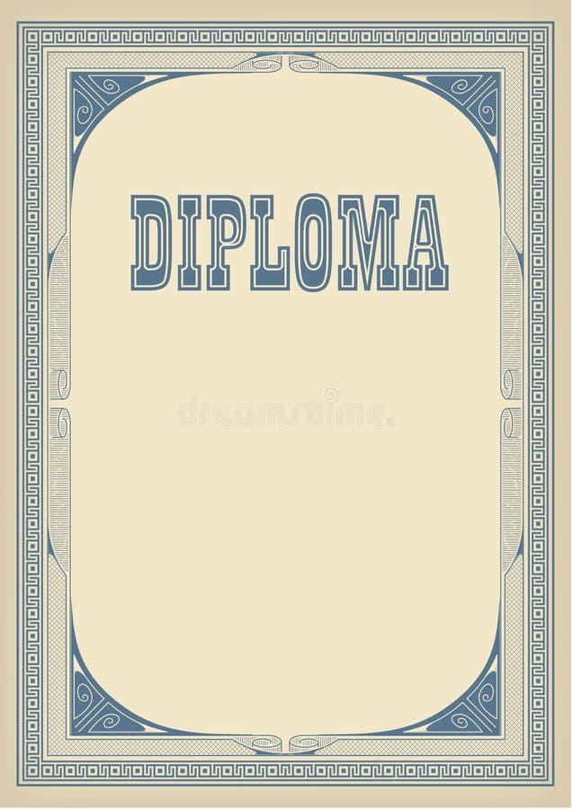 Plantilla Con El Diploma Retro Del Marco Y De Las Letras, Fondo De ...