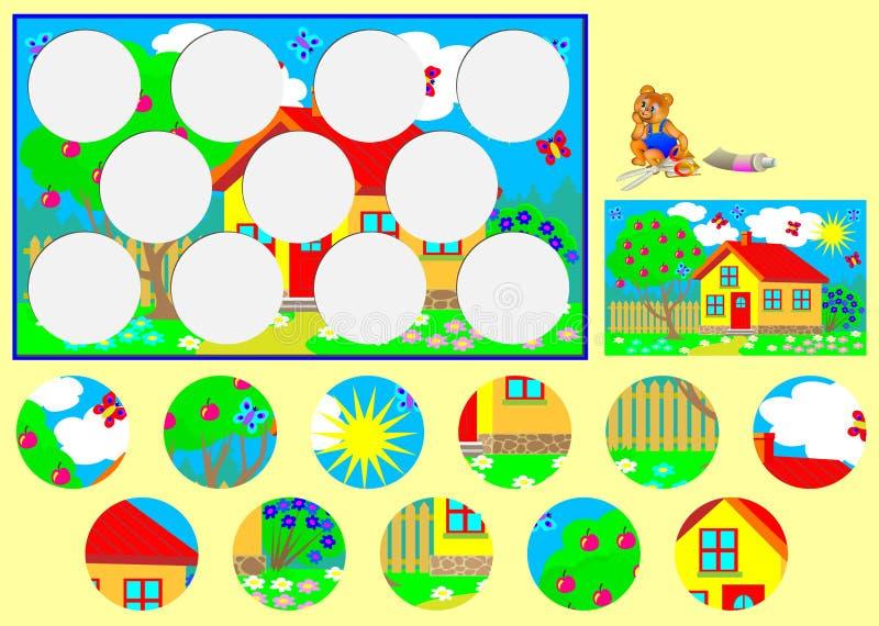 Plantilla con el ejercicio para los niños Necesite cortar los círculos y pegarlos en lugares relevantes stock de ilustración