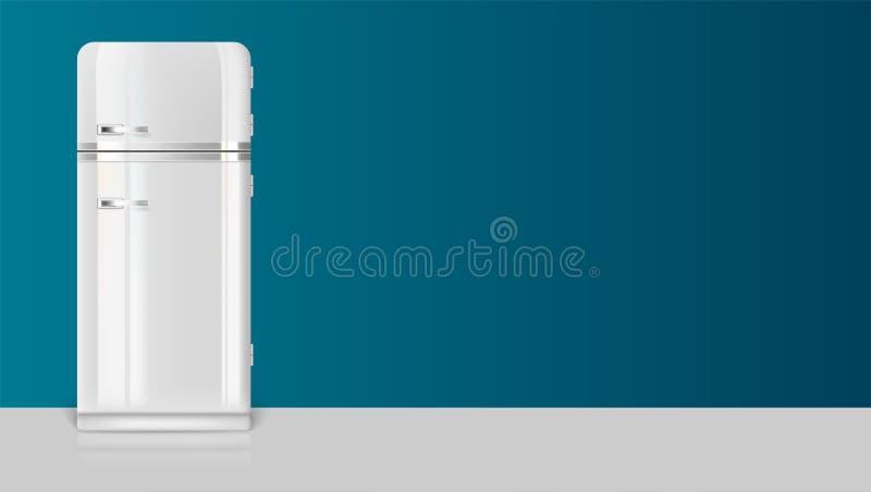 Plantilla con el refrigerador retro del vintage para el anuncio en el contexto largo horizontal, ejemplo 3D con el lugar para el  stock de ilustración