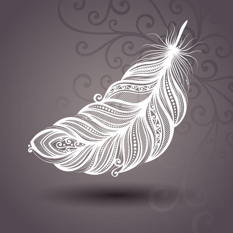 Plantilla con la pluma sin igual en fondo adornado libre illustration