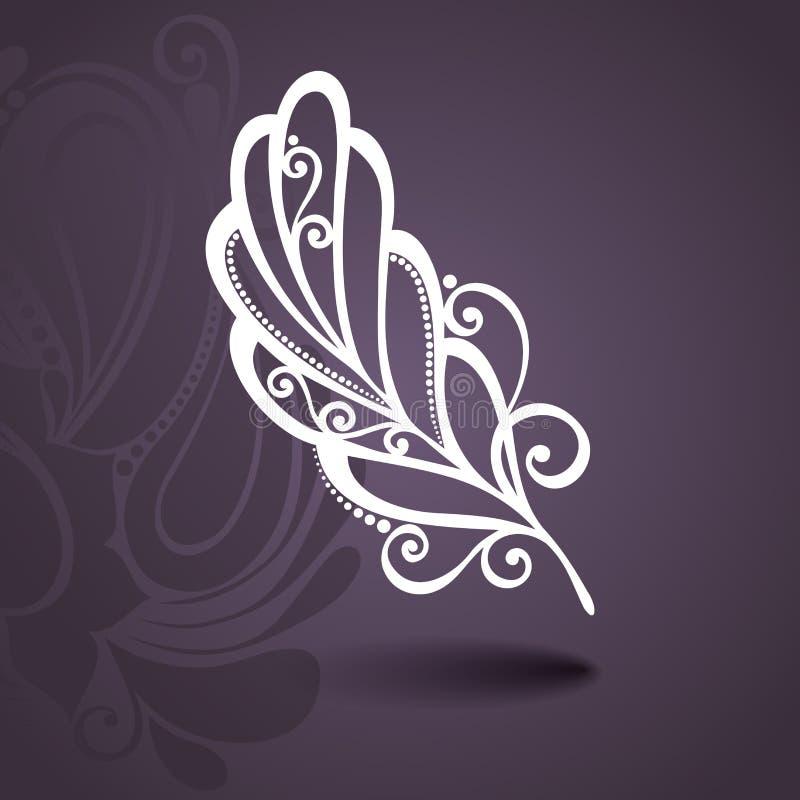 Plantilla con la pluma sin igual en fondo adornado stock de ilustración