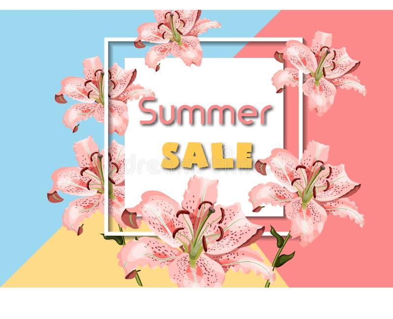 Plantilla con las flores orientales coralinas del lirio, marco del cartel de la publicidad de la venta del verano de la casilla b ilustración del vector
