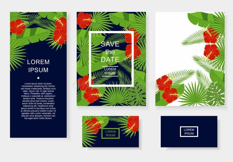 Plantilla con las flores y las hojas tropicales Modele el aviador, invitación, aviador, tarjeta de visita ilustración del vector