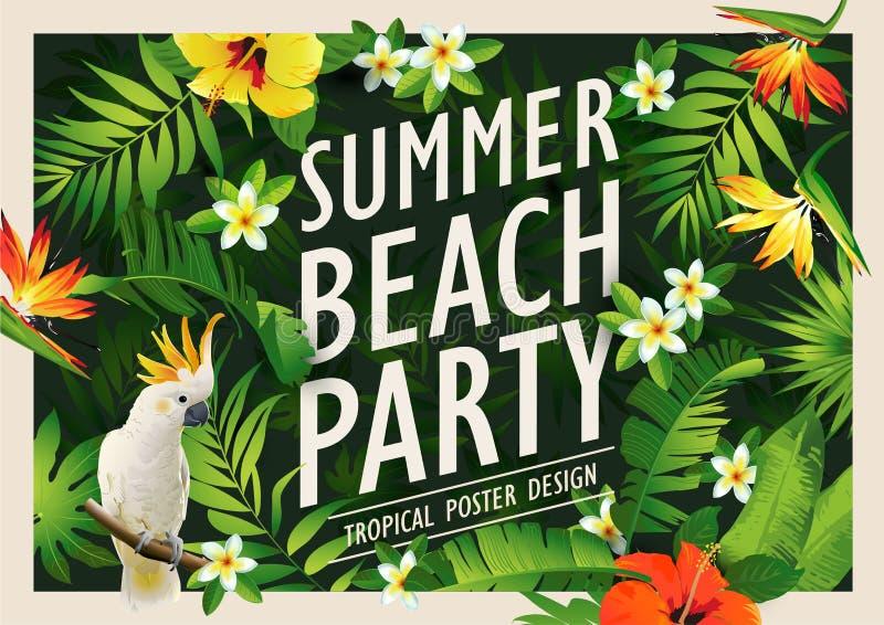 Plantilla con las palmeras, fondo tropical del diseño del cartel del partido de la playa del verano de la bandera ilustración del vector