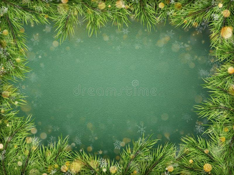 Plantilla con las ramas de árbol de abeto del día de fiesta, bokeh de la Feliz Navidad y de la Feliz Año Nuevo Visión superior EP stock de ilustración