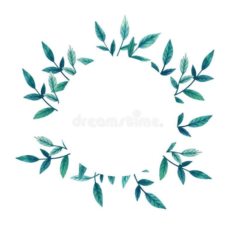 Plantilla con las ramas verdes de hojas Marco floral redondo Ejemplo dibujado mano de la acuarela Etiqueta botánica Para las invi ilustración del vector