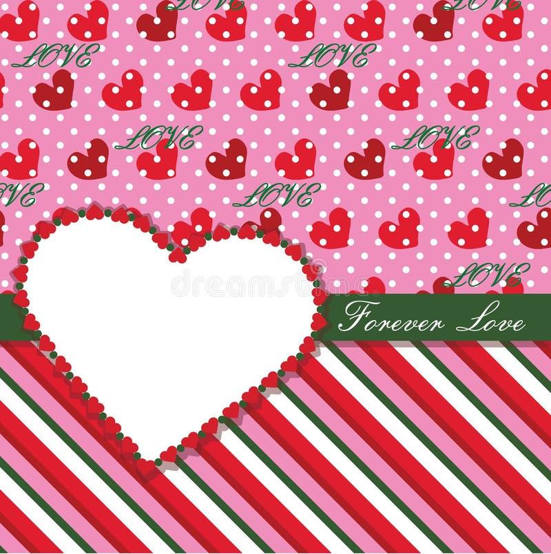 Plantilla con los corazones, lunar del diseño de las tarjetas del día de San Valentín  ilustración del vector
