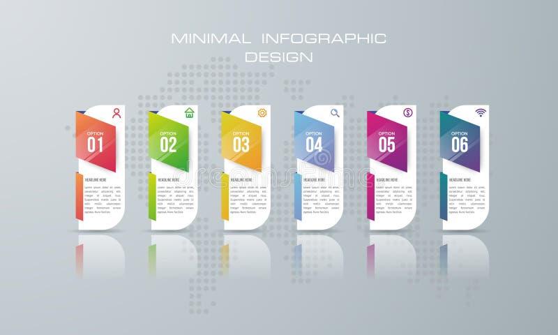 Plantilla con 6 opciones, opción de Infographic de la bandera para infographic libre illustration