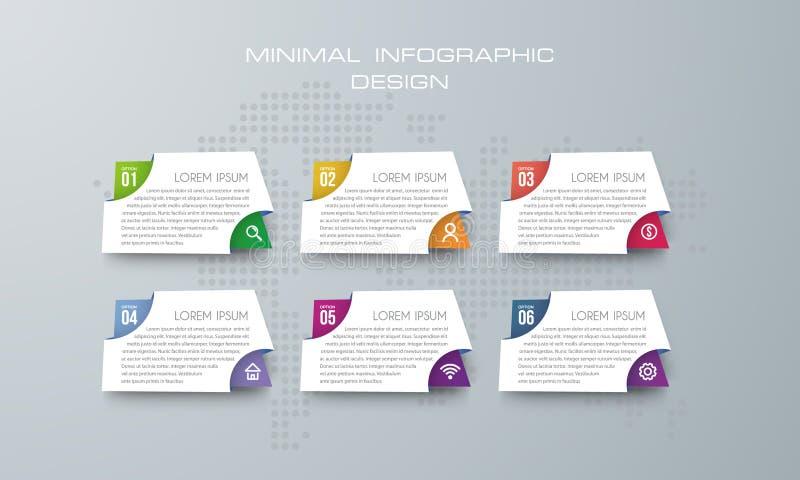 Plantilla con 6 opciones, opción de Infographic de la bandera para infographic ilustración del vector