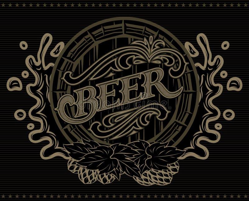 Plantilla con un barril de menú del cartel de la publicidad de la cerveza stock de ilustración