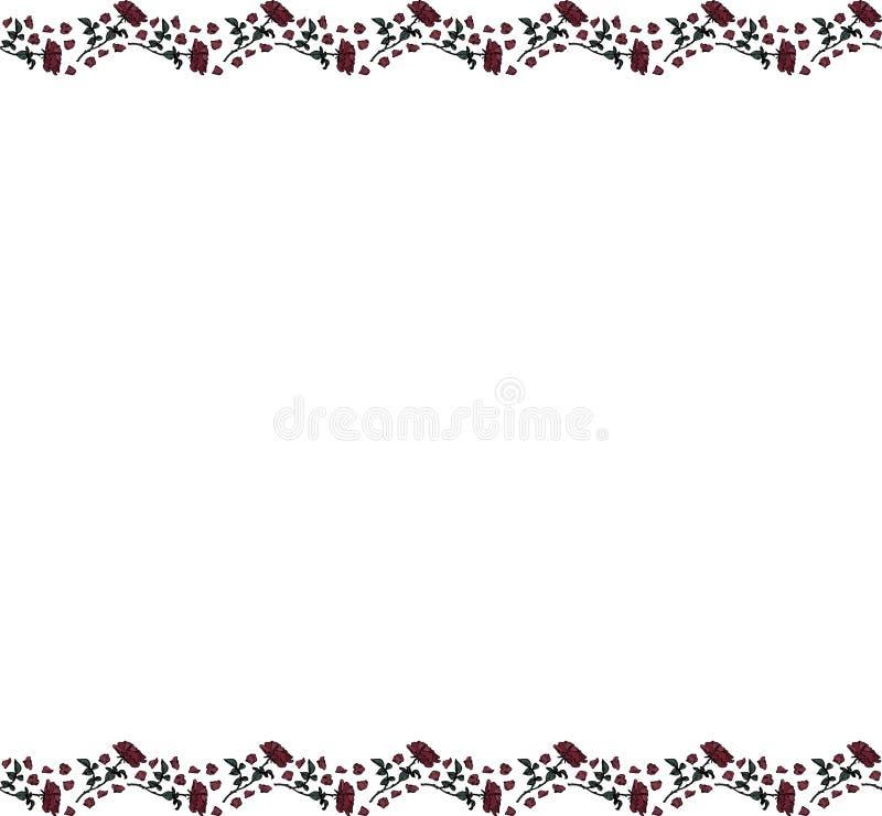 Plantilla con un fondo blanco y dos tiras de rosas y de pétalos en el top y la parte inferior Vector libre illustration
