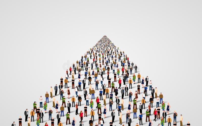 Plantilla con una muchedumbre de hombres de negocios que se colocan en una línea Muchedumbre de la gente ilustración del vector