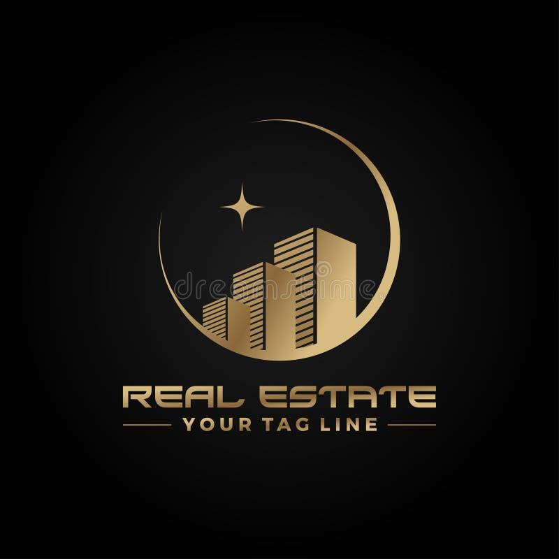 Plantilla constructiva de oro del concepto del icono del logotipo de las propiedades inmobiliarias en fondo oscuro stock de ilustración