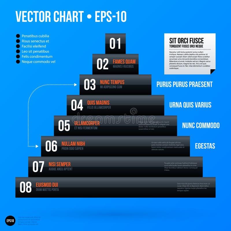 Plantilla corporativa de la carta de la pirámide en fondo azul brillante ilustración del vector